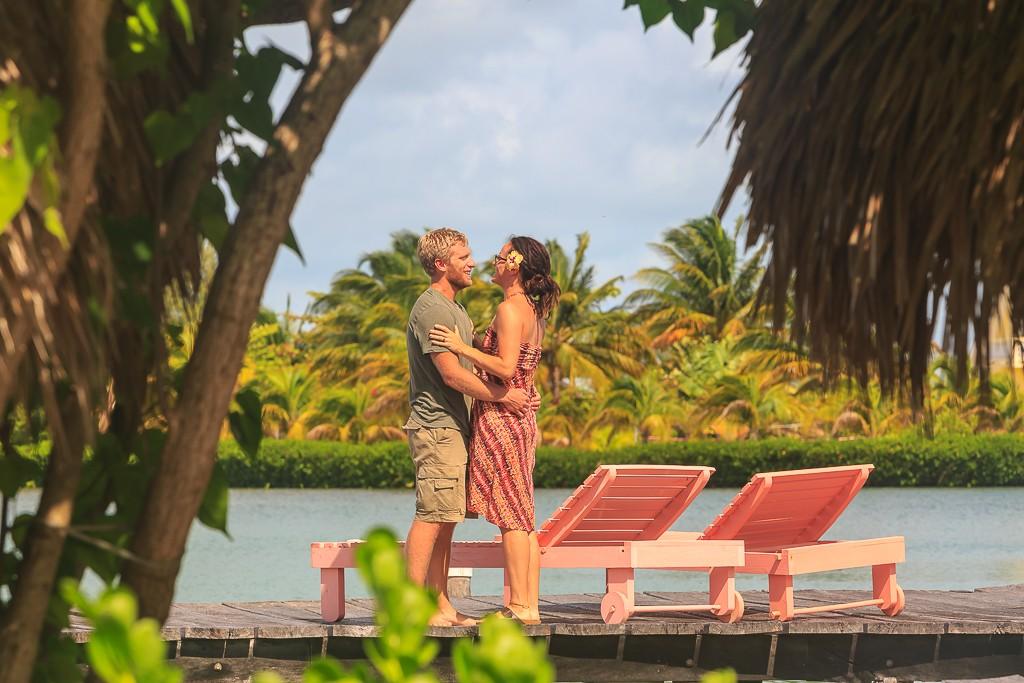 St.GeorgesCaye couple on overwater cabanas dock