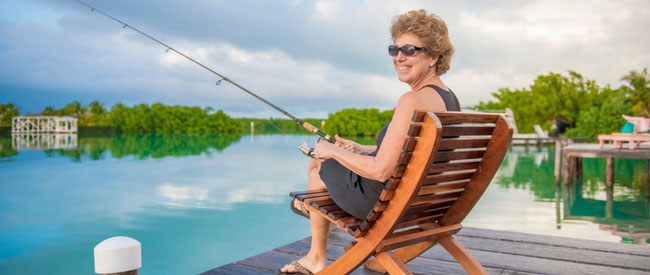 Fishing off docks is free at St Georges Caye Resort Belize